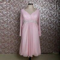 RSE688 وردي قصير الشيفون الشاي طول الأم من فساتين العروس زائد الحجم مع طويلة الأكمام