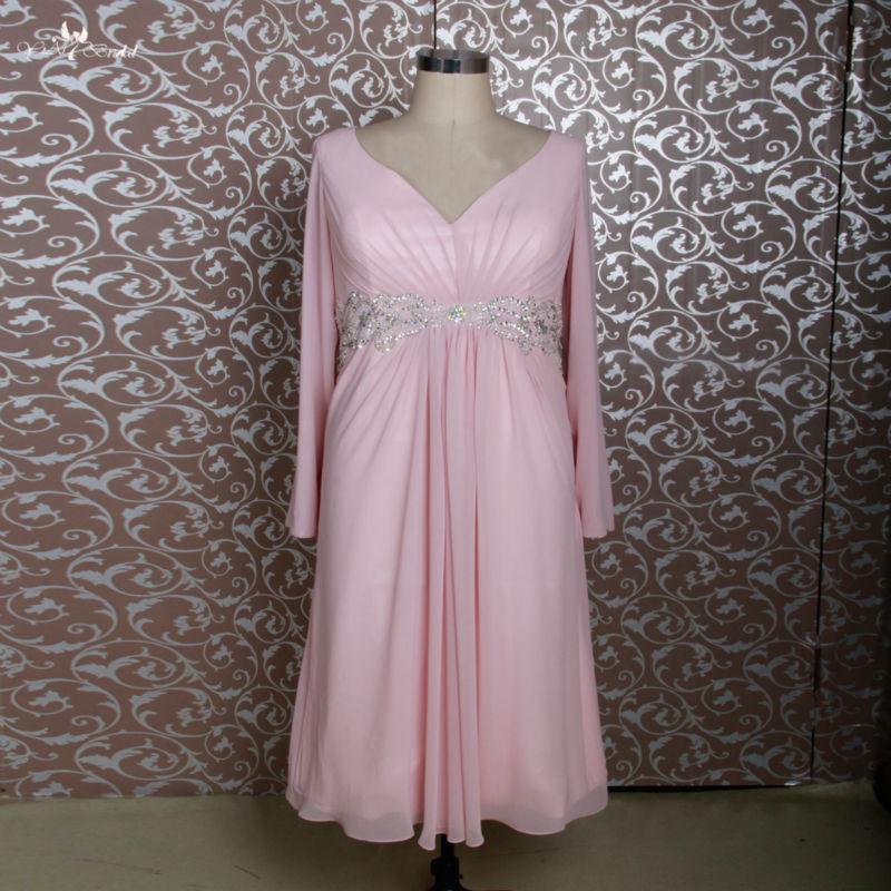 Rse688 Pink Short Chiffon Tea Length Mother Of The Bride Dresses