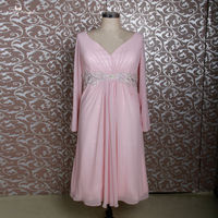RSE688 Pink Short Chiffon Tea Length Mother Of The Bride Dresses Plus Size With Long Sleeves
