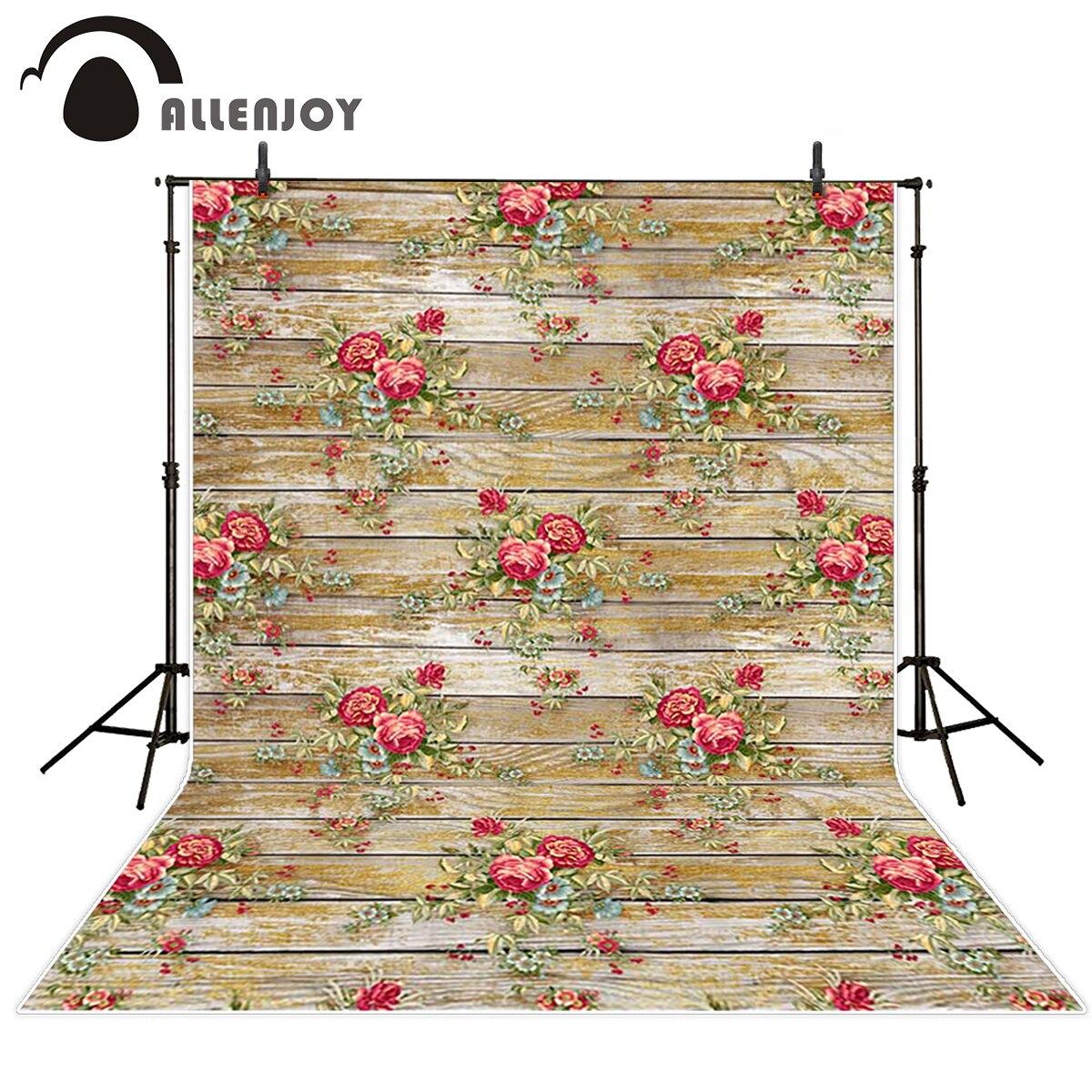 Allenjoy wood background Beautiful rose printing on wood board background vinyl photo background photography backdrop photocall