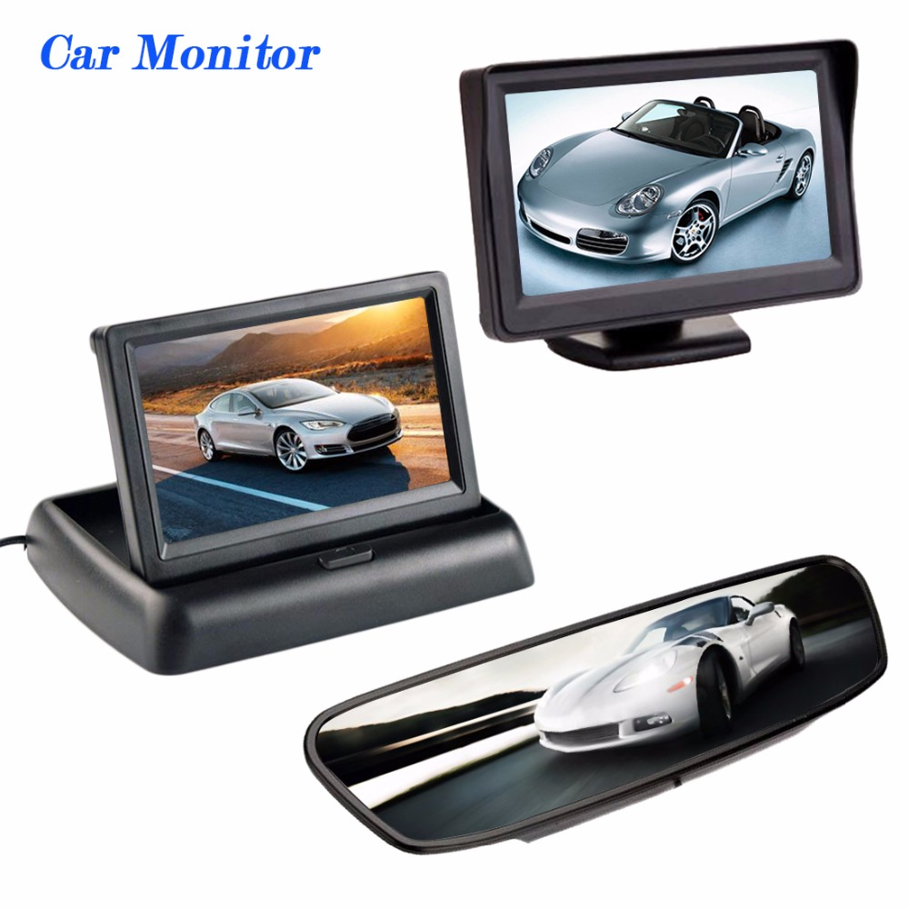 Viecar 170 Degrees Waterproof Car rear view camera and 4.3 Inch Auto Parking System HD Car Rearview Mirror Monitor FREESHIPPING