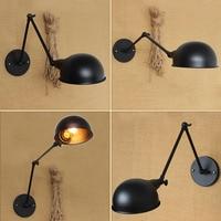 Industrial RH Loft Light Circular Shade Study Light Double Long Arm Vintage Iron Wall Lamp Free Shipping