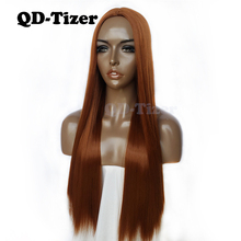 QD-Tizer Orange Color Straight Synthetic Wigs Natural Hair Heat Resistant No Lac