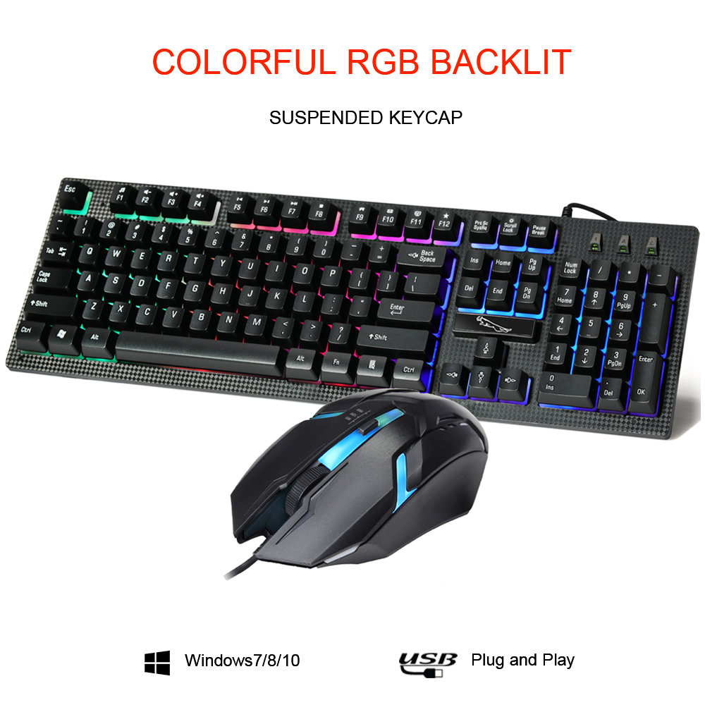 USB Wired Slim Gaming Keyboard and Mouse Combo Set For Laptop Desktop PC Black