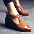2016 ladies low heel shoes retro shoes, rough documentary style female British style T type buckle shoes