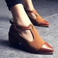 2016 señoras zapatos de tacón bajo zapatos retro, envío libre áspero estilo estilo Británico femenino T tipo hebilla zapatos documentales