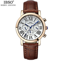 IBSO Mens Watches Top Brand Luxury Stainless Steel Calendar Multifunction Watch Men Genuine Leather Band Quartz
