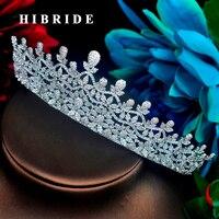 HIBRIDE Beautiful Flower Design Micro Cubic Zirconia Pave Jewelry Headband Crystal Diadem Crown Wedding Hair Accessorie C 86