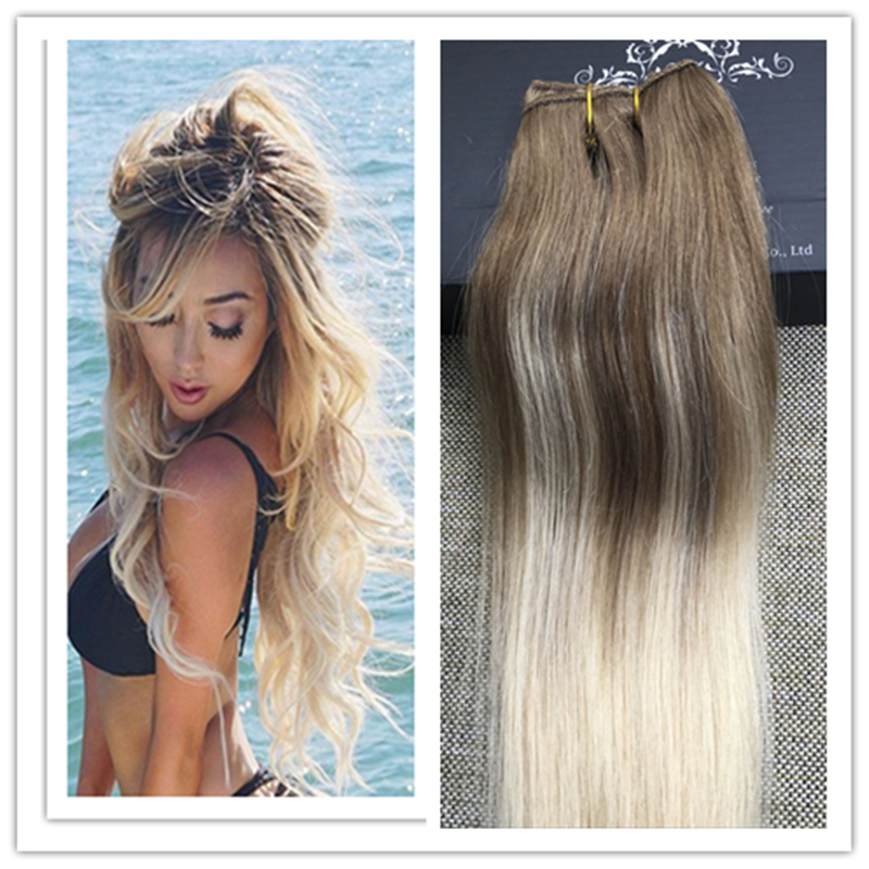 Full Shine Balayage Color One Piece Clip in Extensions 50g Brazilian Remy Hair Clip Human Hair Extensions Ombre Color 8 60