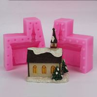 Beautiful small house Clay Craft 3D mold silicone cake decoration sugar tools Christmas Gift Plaster Castle Mould