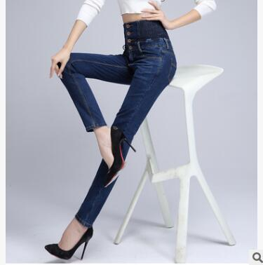 2018 New Spring Winter Women High Waist Jeans Large Size Slim Pants Female High Stretch Trousers with Button in Jeans from Women 39 s Clothing
