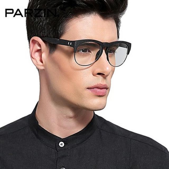 Parzin óculos de Lentes Claras Vidros Do Vintage Quadro Mulheres Homens Óculos Quadro Feminino Óculos Retro Óculos de armação de Leitura Com a Caixa Preta 1222