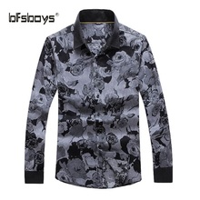 BFSBOYS 2017 Men Dress Eu Size Shirt Full Sleeve Business Printed Florals Shirts Formal Office Brand for Male White Quality