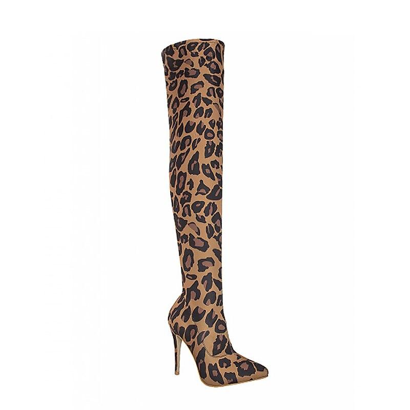 Haute Femmes Sur Léopard Leopard 11 Cm Boot Le Buonoscarpe Pointu Talons Taille Tissu Stretch Mince Bottes Grande Bout Genou vnwNm80