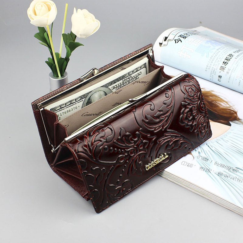 Clutch Wallets Phone-Bag Portfolio Ladies-Holder Multifunction Brand Purse Genuine-Leather