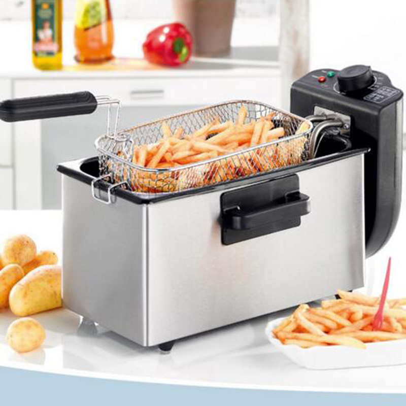 1pc 3L Single-Cylinder Fryer 2000W Smokeless Stainless Steel Fryer Ccommercial Household Electric Fryer KJ-800 salter air fryer home high capacity multifunction no smoke chicken wings fries machine intelligent electric fryer
