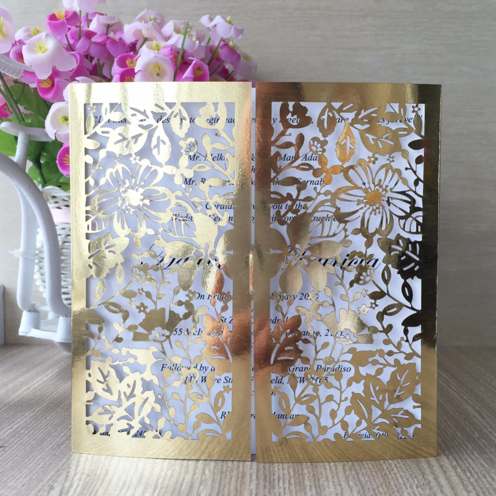 bright gold laser cut vine flower wedding invitations card