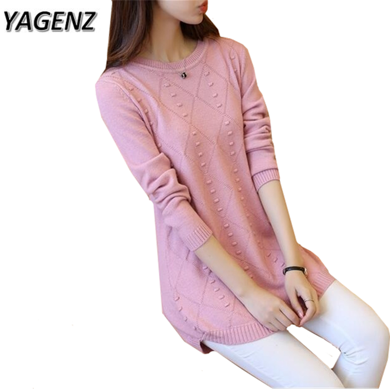 YAGENZ 2017 Autumn Winter Knitted Women Sweater Plue size 3XL Korean Loose O neck Pullov ...