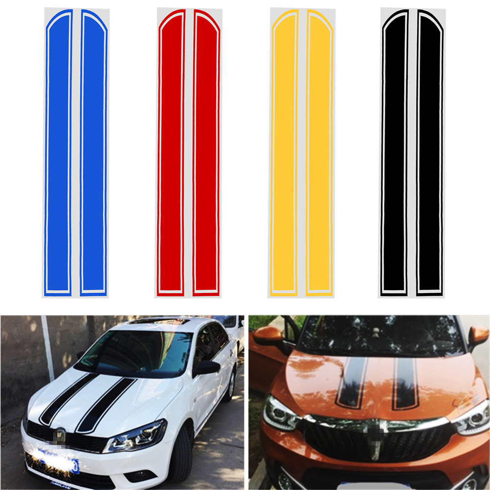 Car Stickers and Decals Car Styling Auto Motorcycle Sticker Hood Engine Cover DIY Stripe Decoration Reflective 3d car hood engine cover sticker waterproof sunscreen protective change color film auto decals car styling for audi a4 b6 a3 a6