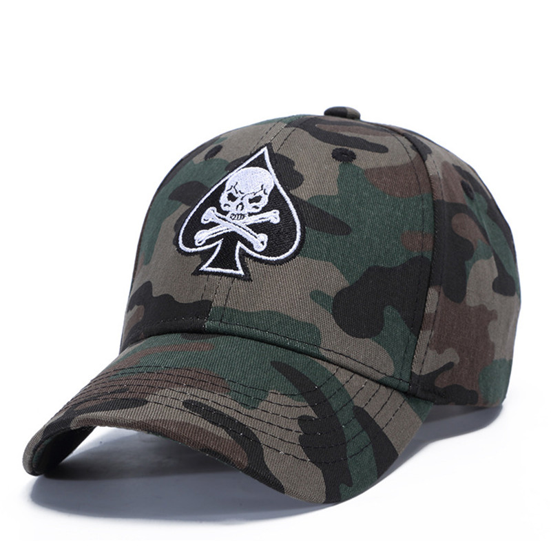 [WUKE] Brand High Quality Adjustable Camouflage Skull Casquette Peaked Cap Men Women Baseball Hip Hop Caps Bone Gorros Unisex