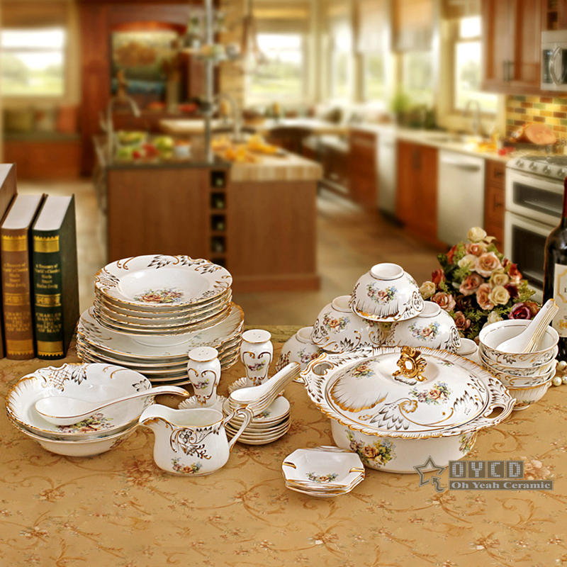 Porcelain dinnerware set bone china flower design embossed outline in gold 70pcs dinnerware sets coffee sets wedding gifts-in Dinnerware Sets from Home ... & Porcelain dinnerware set bone china flower design embossed outline ...