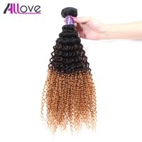 Allove Brazilian Kinky Curly Hair 3 Tone Ombre T1B/4/30 Hair Bundles No Shedding Human Hair Weave Remy Hair Bundles