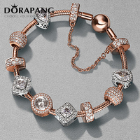 DORAPANG 2017 NEWEST 100% 925 Sterling Silver Rose gold bracelet suits Clear CZ Charm Bead fit Bracelet DIY For Women Jewelry