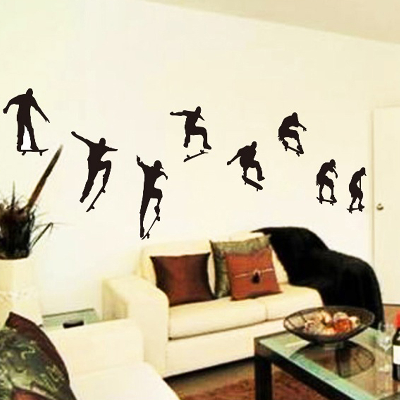 Skateboarding Teenager Wall Stickers Skateboard Silhouette Sports Man Wall  Decals Popular PVC Black Wall Decoration Bedroom In Wall Stickers From Home  ...