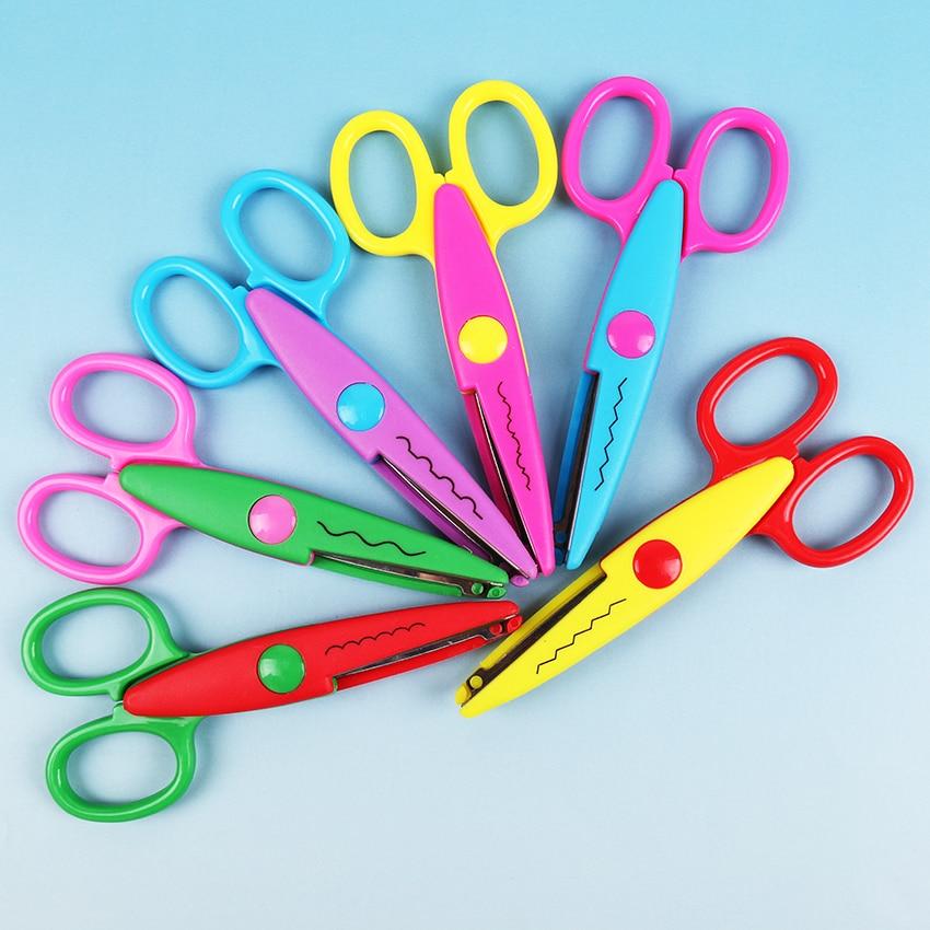 6 PCS Laciness Scissors Metal And Plastic DIY Scrapbooking Photo Colors Scissors Paper Lace Diary Decoration With 6 Patterns