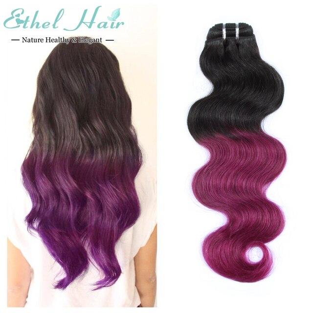 Ethel Hair T1bpurple Hair 7a Brazilian Virgin Hair Ombre Brazilian