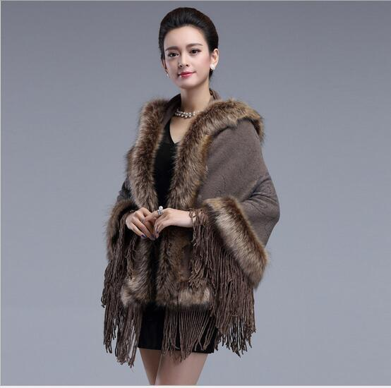 2016 New Winter Warm Imitation Fox Fur Shawl Fringed Knit Cardigan  Fashion High Luxury Fur cope coat