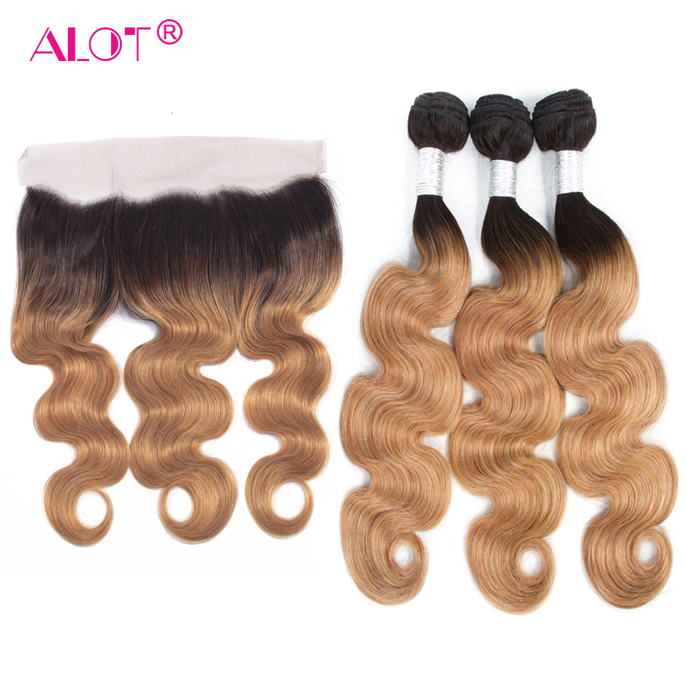 ALot Peruvian 1B/27 Dark Root Ombre Body Wave Human Hair Bundles With Frontal Non Remy Pre Colored Honey Hair Weave 4 PCS-in 3/4 Bundles with Closure from Hair Extensions & Wigs    1