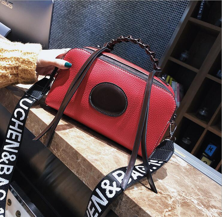 Lady Letters Wide Shoulder Strap Contrast Color Pu Leather Women Shoulder Bag #1910 Fashion Woman Crossbody Bag Christmas Gift