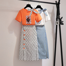 2019 Summer Women Polka Dot Print 2 Piece Clothing Set Character Pattern Bow Tshirt Top+Button Split Bodycon Mid Calf Skirt Suit rabbit print split top