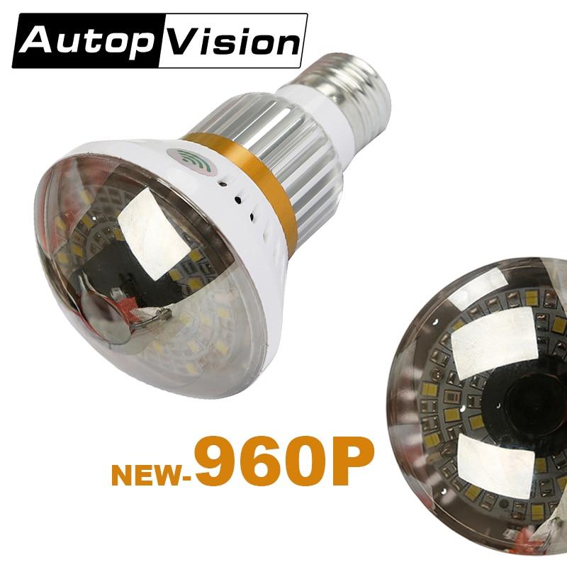 BC New Style HD960P Bulb Light Camera 90 degree WiFi Bulb P2P IP Network DVR Camera White Warm yellow Light Wireless camera