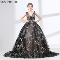 H & S свадебное черное бальное платье с открытой спиной для выпускного вечера кружева выпускного вечера с v образным вырезом без рукавов Форм