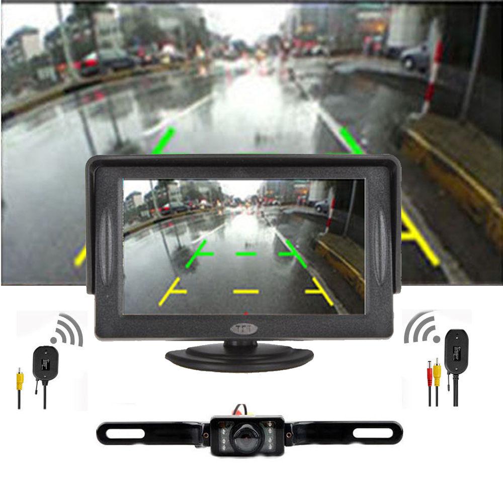 Car Backup Camera Rear View System Night Vision + Wireless 4.3 TFT LCD MonitorCar Backup Camera Rear View System Night Vision + Wireless 4.3 TFT LCD Monitor