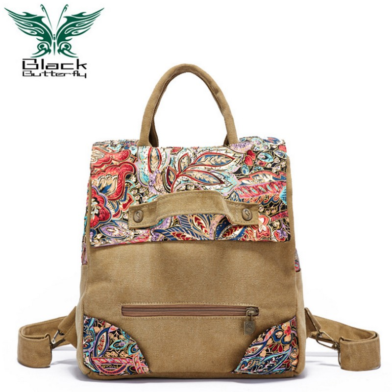 Black Butterfly original design Large Capacity Women backpack Ethnic style school bag Female multifunction Canvas travel bag black butterfly original design ethnic style women shoulder bag bohemian style printing tote bag women shopping handbags