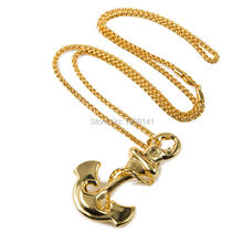 2pcs lots wholesale 18K Gold plat 2016 new Jewelry  Navy anchor pendant necklace Chain Hiphop anchor long Necklace women
