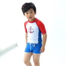 New Model Boys Rash Guards Two Pieces Swimwear Swimsuit Boy 1-12 Y Children Anchor Swimming Wear Suit Bathing Suits swim cap