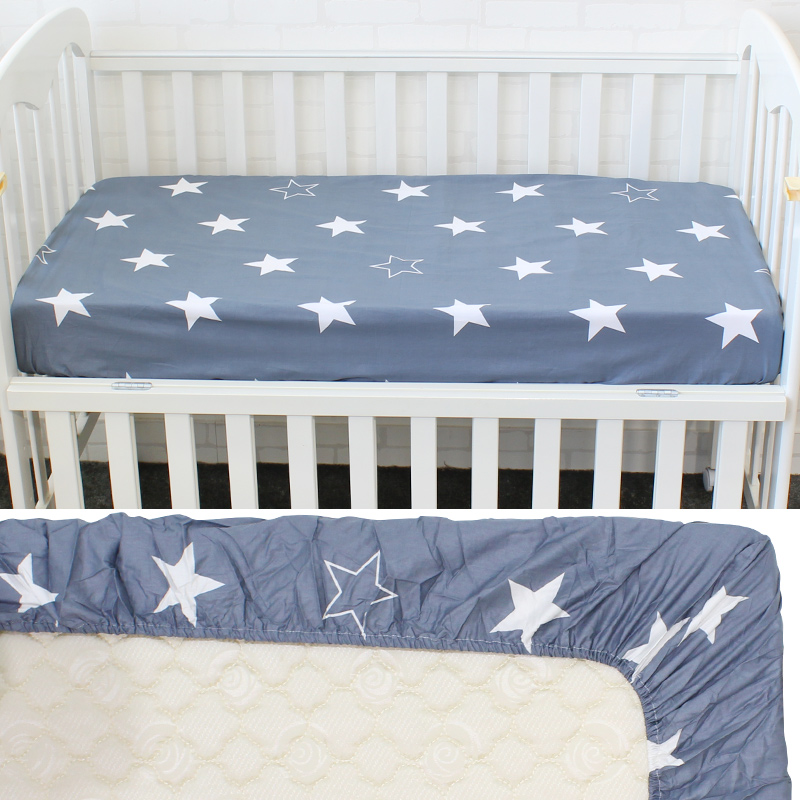 Baby Crib Sheet Nursery Bedding Cover Sheet Baby Bed Mattress Cover Fitted Sheet Cloud /& Stripe