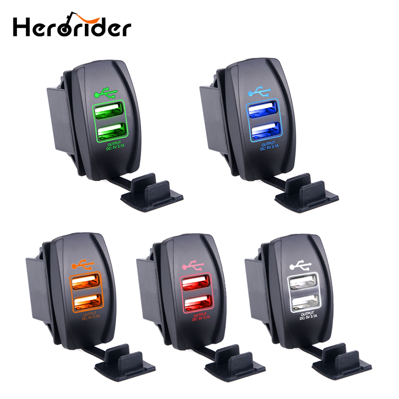 Herorider Dual USB Car Charge Socket Power Mini USB Charger 12-24V 3.1A Car Charger Car Cigarette Lighter Socket Chargers 12V dual usb car cigarette lighter charger for ipad mini ipad 4 3 2 black