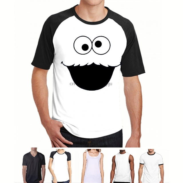 4d887afc Funny Design Sesame Street Cookie Monster T Shirt Elmo Early Bird Grover  Ernie Oscar Printed T Shirt O-Neck Cool Tops