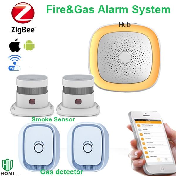 Wireless zigbee hub APP control wifi fire smoke sensor, gas sensor bathroom Kitchen Combustible Gas Alarmer