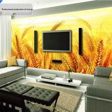 Golden yellow wheat TV background wall professional production mural wallpaper custom poster photo