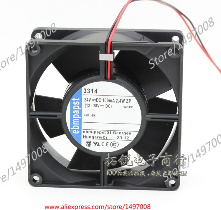 Free Shipping For ebmpapst  3314  DC 24V 2.4W 2-wire 2-pin connector 90mm, 90x90x32mm Server Square fan