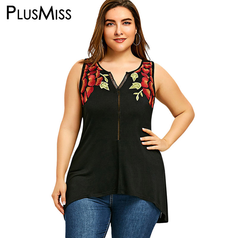 PlusMiss Plus Size 5XL Sexy Embroidery Sleeveless Tops Women Clothing Big Size Summer 2018 Embroidered Tank Ladies Black Vest