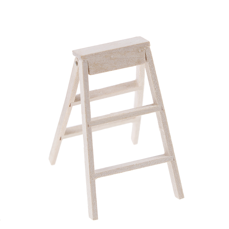 1:12 Dollhouse Miniature Fairy Garden Decor Dollhouse Miniature Wood Step Ladder Furniture Tools