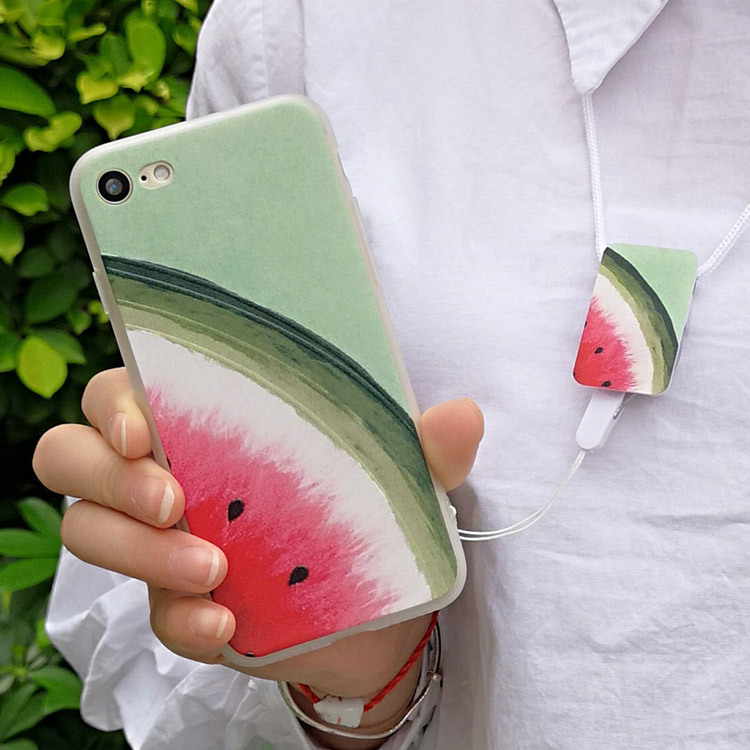 With Lanyard Solid Color For iPhone 7 Case TPU concise Glossy Smart Phone Casing suit fo ...
