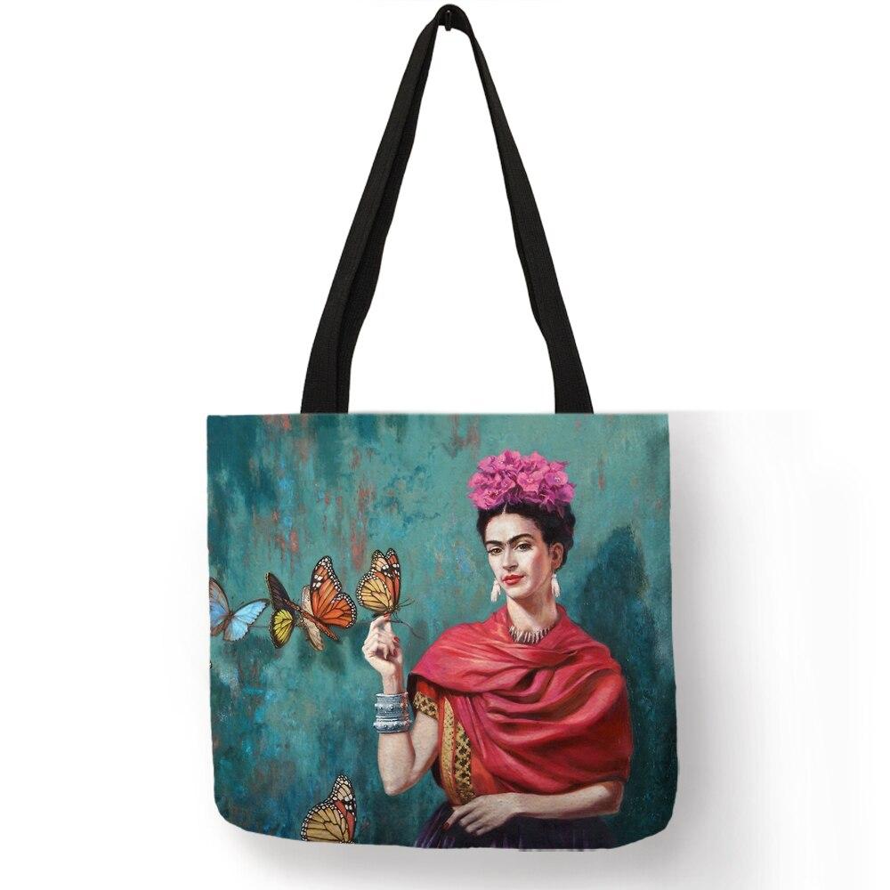 Exklusive Frida Kahlo Druck Leinen Einkaufstasche Für Frauen Mode Hadbags Eco Reusable Einkaufstasche Student Schule Taschen Dropship